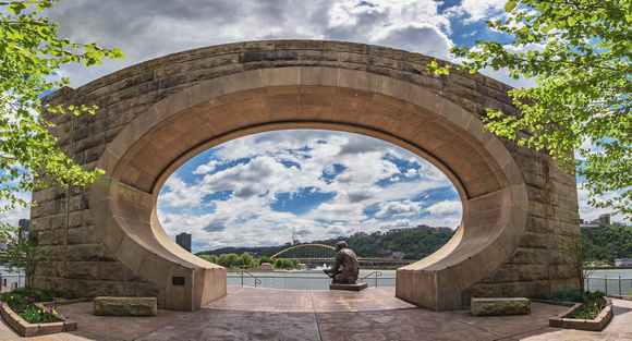 Dave Dicello Photography North Shore Panorama Of The Mr Rogers Statue On The North Shore Of Pittsburgh Print