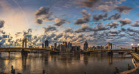 Panorama of a beautiful sunrise in Pittsburgh from the North Shore