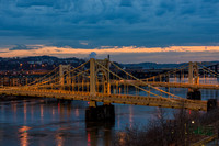 The Andy Warhol and Rachel Carson Bridge in Pittsburgh at dawn