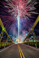 Fireworks over the Clemente Bridge in Pittsburgh