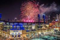 Close fireworks over PNC Park in Pittsburgh in 2014