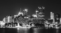 Black and white view of the Pittsburgh skyline