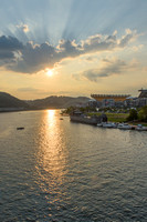 Sunlight on the Allegheny in Pittsburgh and the LST 323 World War II Transport Ship