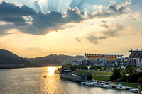 Beautiful light over the Pittsburgh and the LST 323 World War II Transport Ship