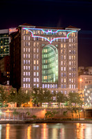 The beautiful Renaissance Hotel and the Bat Signal in Pittsburgh