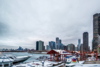 Chicago skyline from Navy Pier on a cold morning HDR