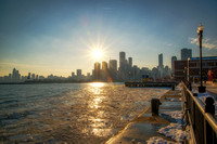 Sun setting over the Chicago skyline from Navy Pier HDR