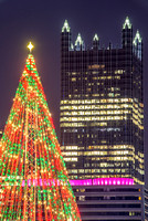 The Christmas tree at the Point and PPG Place