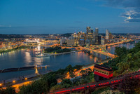 A full moon, the incline, a barge and Pittsburgh