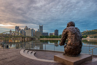 Mr. Rogers Statue in Pittsburgh at dawn