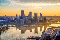 Morning Pittsburgh skyline from the West End Overlook HDR
