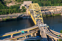 Aerial view of the Ft. Pitt Bridge in Pittsburgh