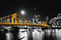 Andy Warhol Bridge under a supermoon in PIttsburgh