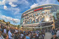 Fans gather outside of CONSOL Energy Center
