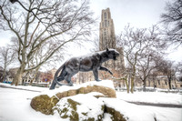 Pitt Panther statue in the snow HDR