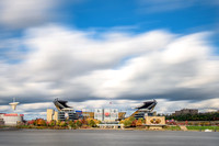 Clouds rush over Heinz Field in the fall