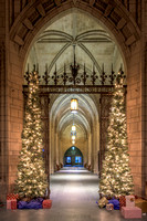 Festive Christmas decorations inside the Cathedral of Learning