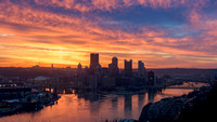 Beautiful sunrise in Pittsburgh from the West End
