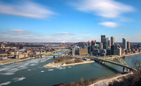 Clouds and ice rush over Pittsburgh in winter