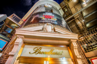 The Broadhurst Theatre rises into the night in New York City