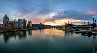 Panorama of a beautiful sunset in Pittsburgh over the Allegheny River