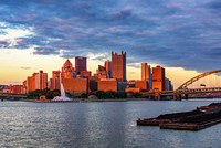 Pittsburgh glows gold at dusk