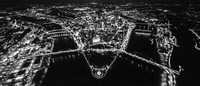 Pittsburgh skyline from above at night in B&W