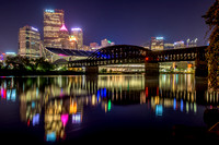 Colorful reflections of Pittsburgh in the Allegheny