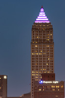 The Gulf Tower is lit up Purple at dusk