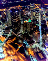 Downtown Pittsburgh from the air at night