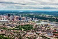 Aerial view of Pittsburgh from above the North Shore