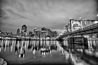 Roberto Clemente Bridge reflections HDR B&W