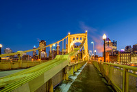 The Roberto Clemente Bridge in the winter in Pittsburgh HDR