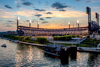 A colorful sunset behind PNC Park in Pittsburgh