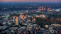 The University of Pittsburgh and the skyline glow at dawn from the air