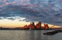 Panorama of Pittsburgh lit up at dusk