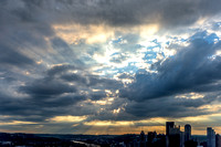 Beautiful light breaks through the clouds over Pittsburgh at dawn