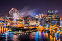 Fireworks over Pittsburgh and PNC Park after a Pirates game