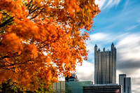 Long exposure of trees rustling by PPG Place in the fall in PIttsburgh