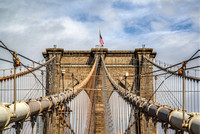 The top of the Brooklyn Bridge in New York City HDR