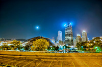 Civic Arena and Pittsburgh skyline at night HDR