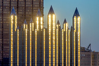 The spires of PPG Place glimmer at dusk in Pittsburgh