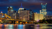 Pittsburgh shines during a beautiful dusk in Pittsburgh