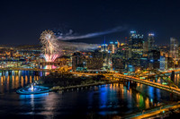 Fireworks over Pittsburgh after a Pittsburgh Pirates win