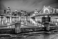 Reflections of Pittsburgh from the North Shore HDR B&W