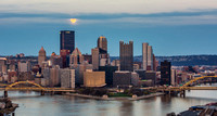 A wide angle view of the full moon over Pittsburgh