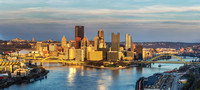 A panorama of a beautiful sunset in Pittsburgh from the West End