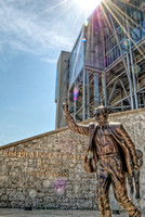 Joe Paterno statue and sunflare at Penn State HDR