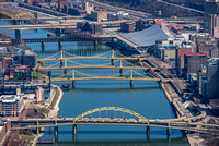 An aerial view up the Allegheny River in Pittsburgh