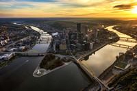 An aerial view of Pittsburgh during a beautiful sunrise